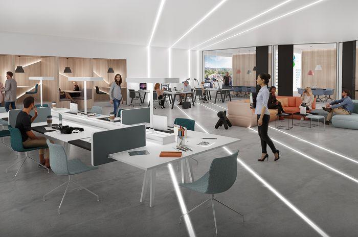 Et moderne kontorlandskap med minimalistisk interiør