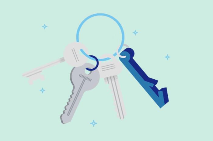 Illustrasjon av et nøkkelknippe