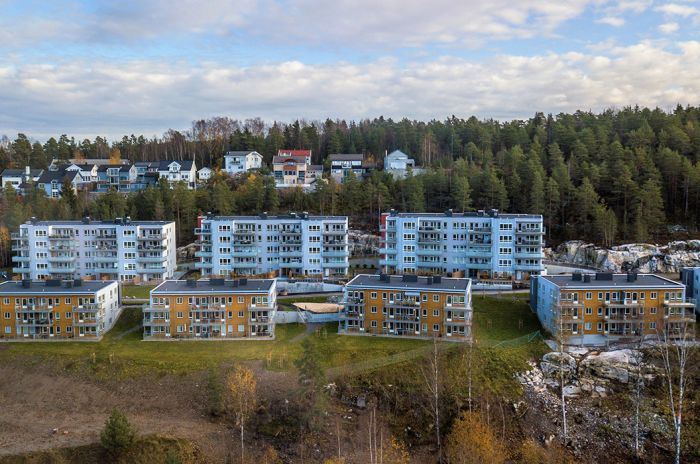 Dronefoto av alle boligene på Rosenholm