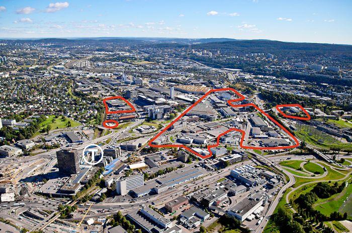 Oversiktsbilde av Ulven med boligtomtene markert
