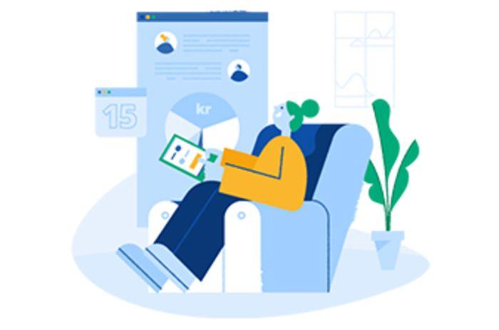 illustrasjon av en dame som sitter i en lenestol og ser på iPad.