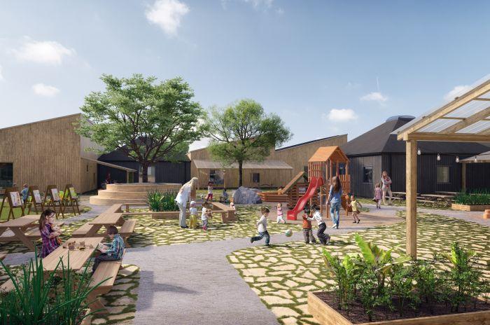 Torget start learning obos visionsbild som består av samlade rum där barnen kan njuta av lugn utomhus lek