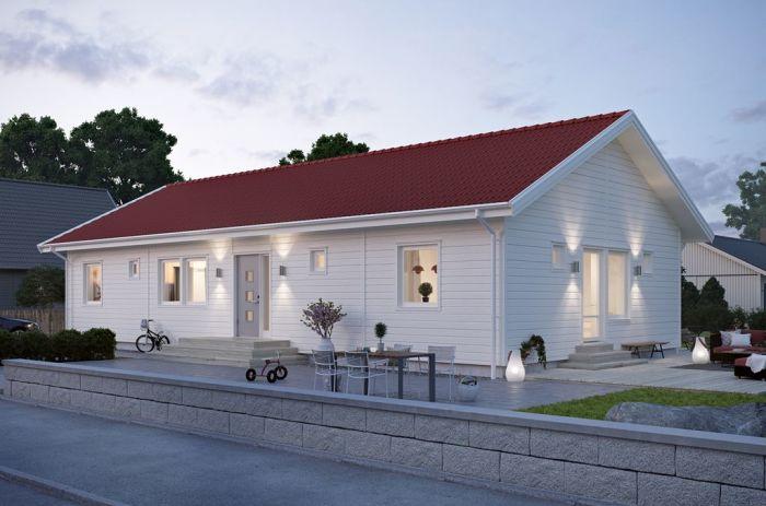 en vit enplansvilla från smålandsvillan