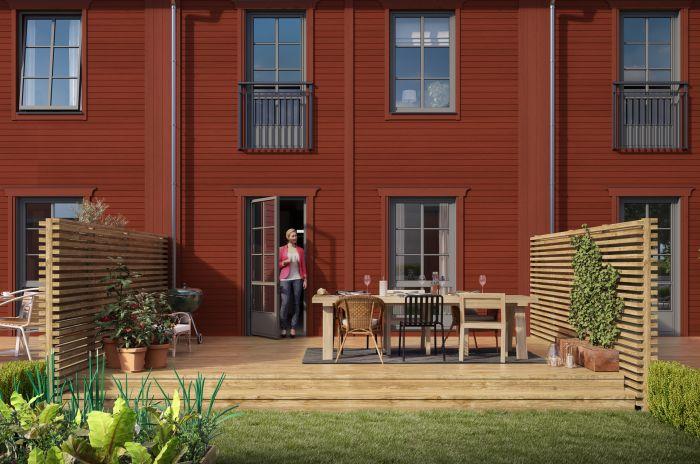 Baksida i en av bostäderna i Brf Karusellen som bostadsutvecklaren obos bygger i Örebro i området Nora Stensnäs