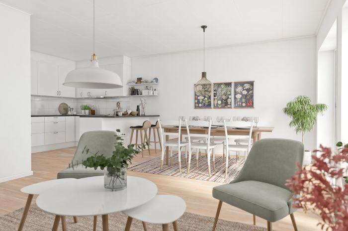 vardagsrum och matsalsrum i brf rydsgårds ängar