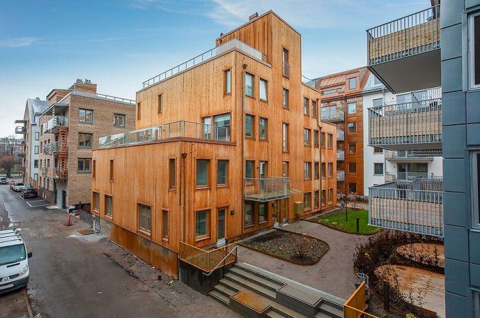 Ett lägenhetshus i Norrköping