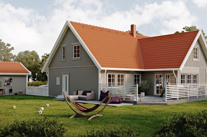 grönt tvåvåningshus från Smålandsvillan
