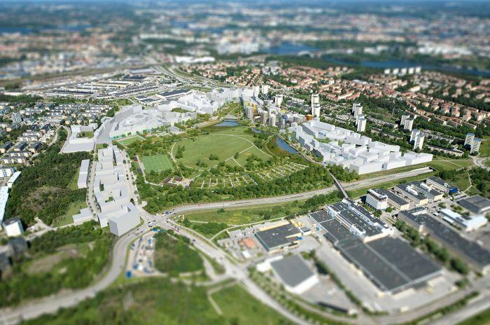 Årstafältet som OBOS planerar att bygga i Stockholm
