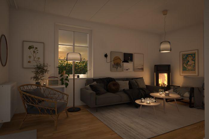 Typiskt interiör i projektet Brf Kärleksudden som OBOS planerar att bygga i Småländska Mullsjö