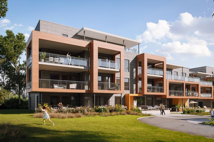 Illustrasjon av bygg a og b i boligprosjektet Sollitunet på Voll og Lund utenfor Hamar.