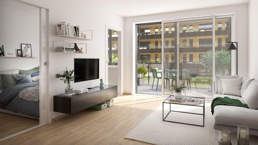 Illustrasjonsbilde av stue med inngang til soverom og utgang til terrasse