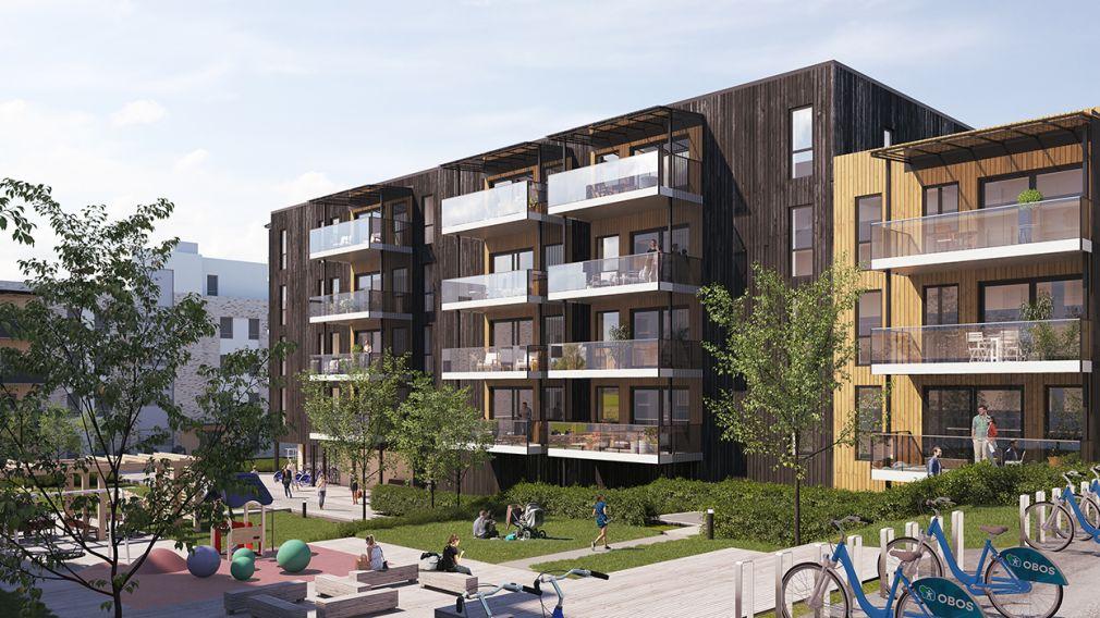 Bilde av boligblokker med terrasser og friarealer i Ladebyhagen