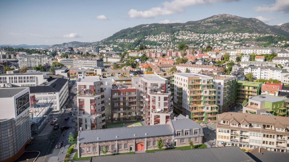 Oversiktsbilde som viser beliggenheten til Kronstadparken i forhold til resten av Bergen