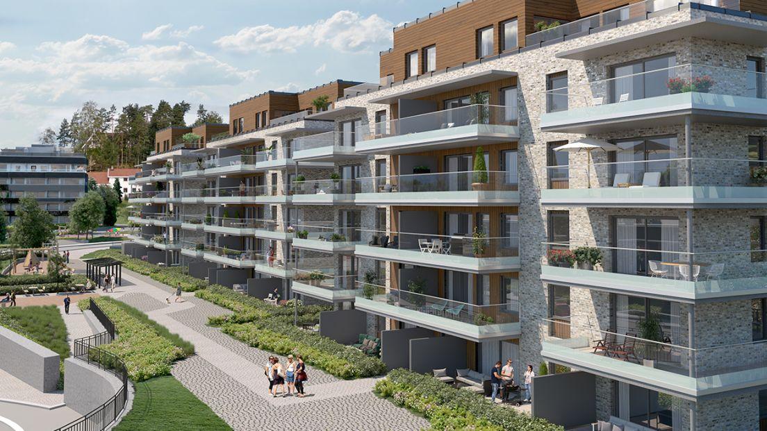 Illustrasjon av fasade i boligprosjektet Eikelijordet.