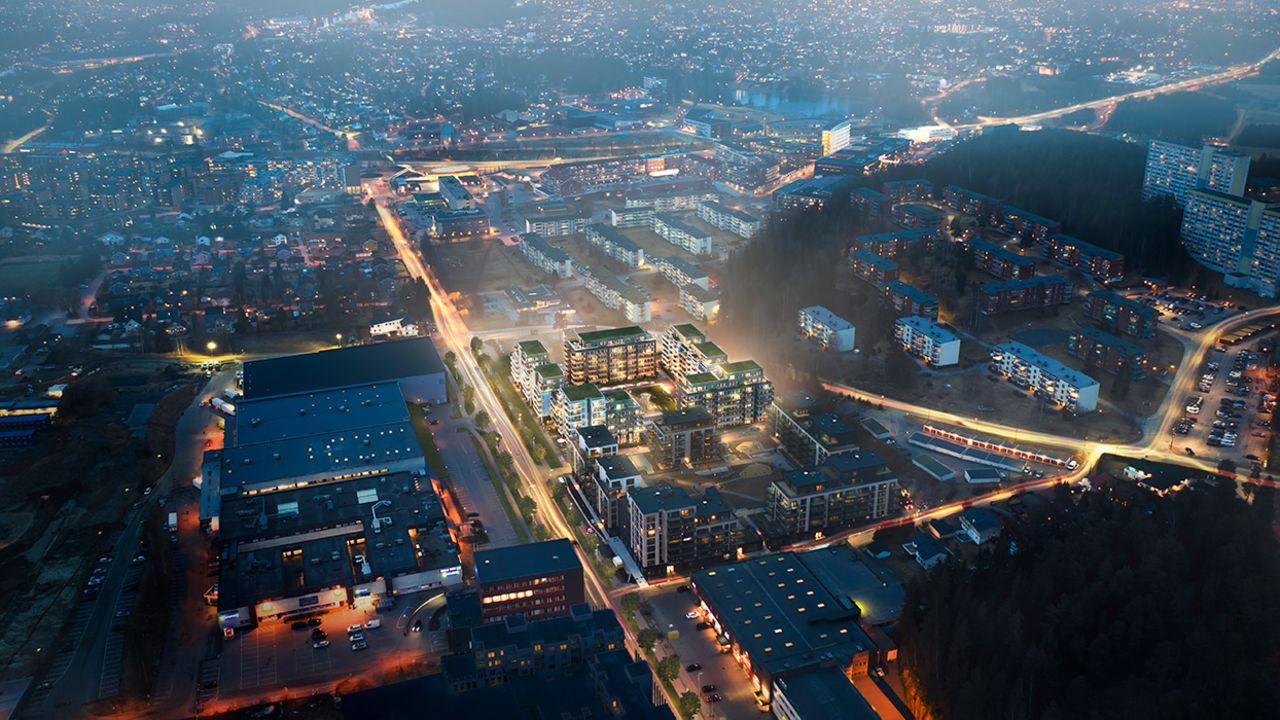 Kveldsbilde av det kommende boligfeltet i Lørenskog
