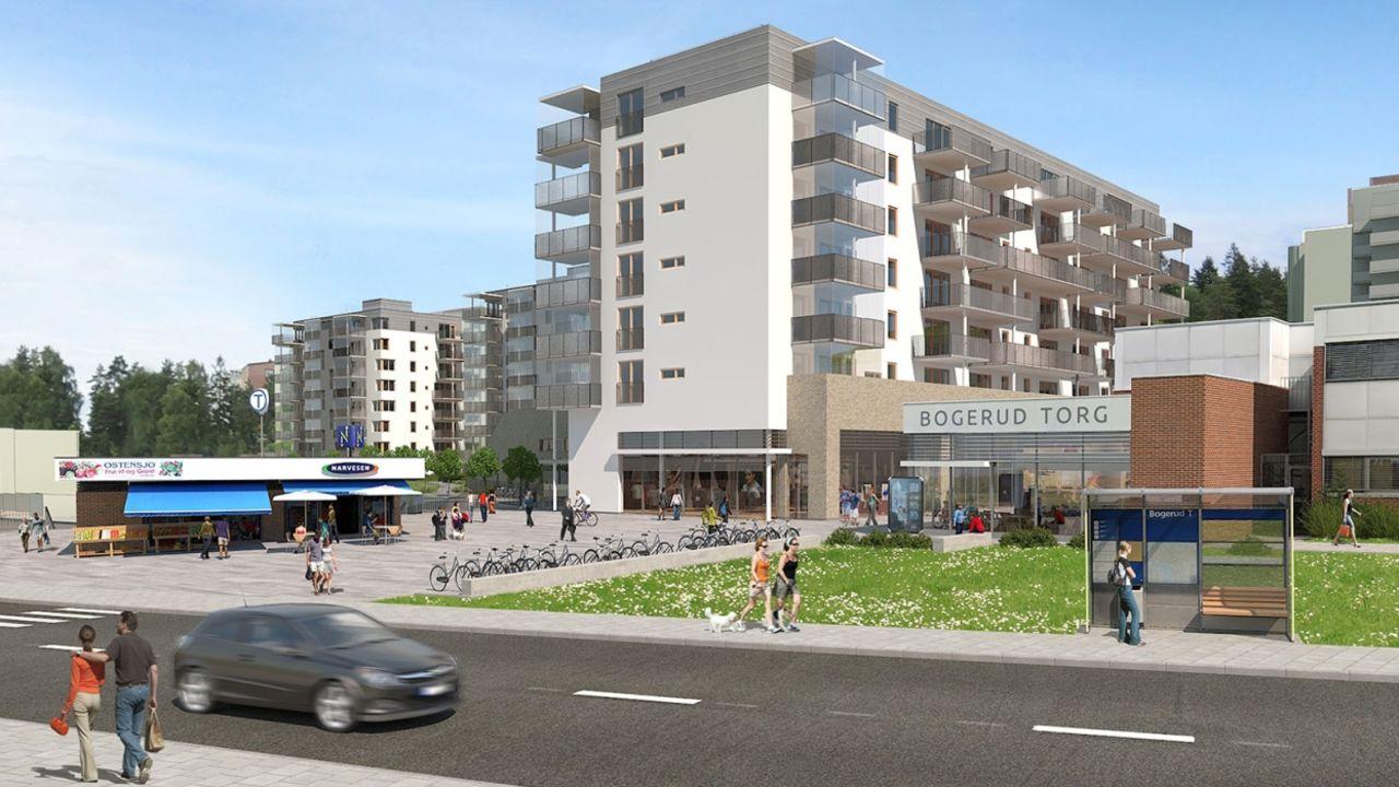 Illustrasjon / tegning av kjøpesenter og boligprosjekt i 8 etasjer.