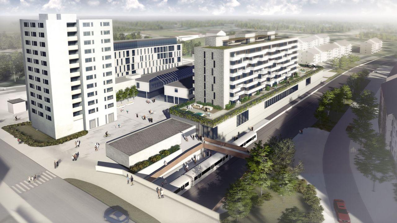 Illustrasjon av kjøpesenteret Lambertseter.