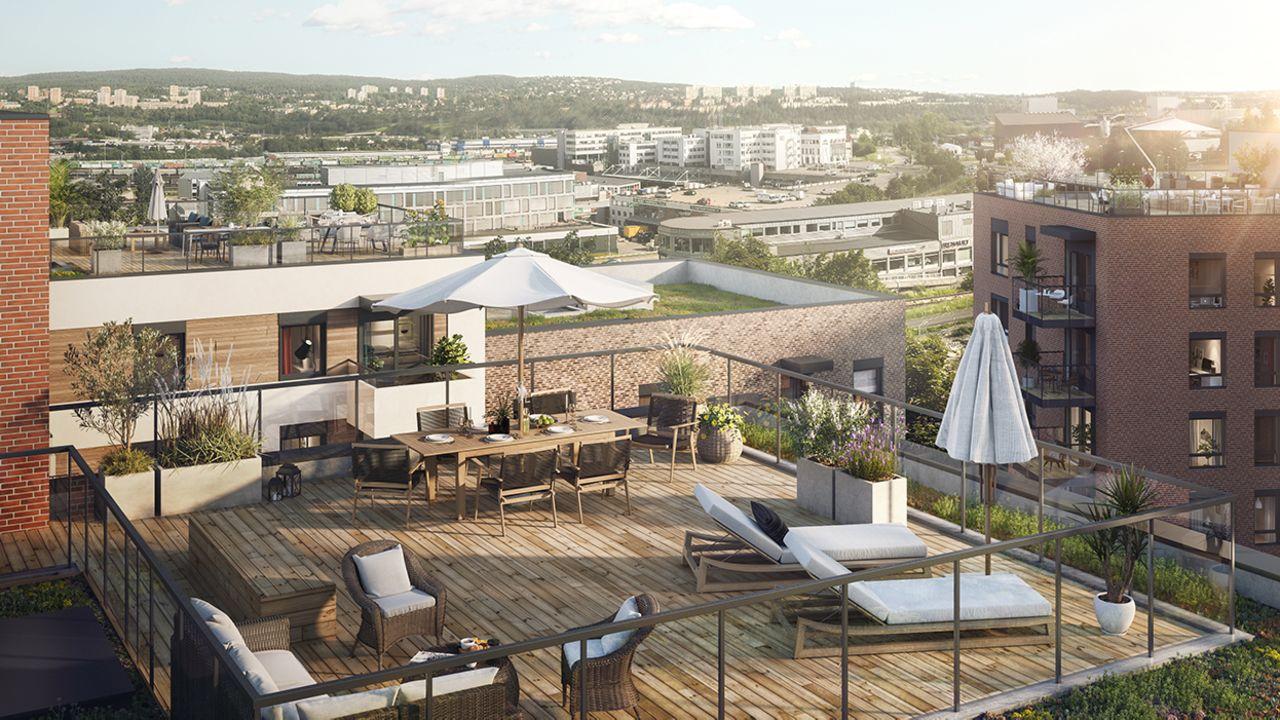 Bilde av stor takterrasse med sittegruppe, solsenger, spisebord, parasoller og utsikt over Vollebekk