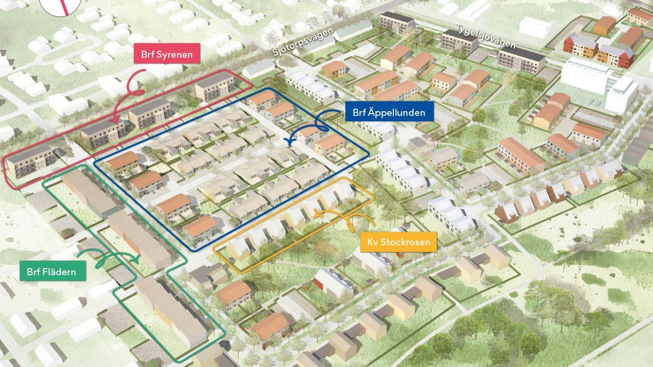 Översiktsbild på OBOS projekt i Tygelsjö