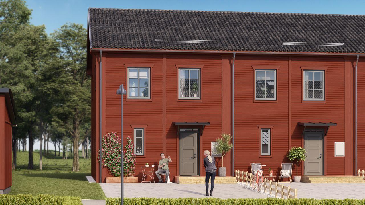 Röd exteriör och trädgård  för några av bostäderna i Brf Karusellen som bostadsutvecklaren obos bygger i Örebro i området Nora Stensnäs