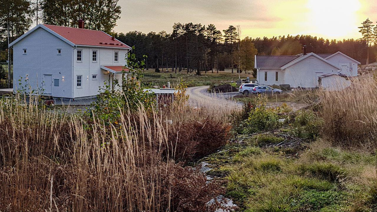 två vita hus i ett naturskönt område