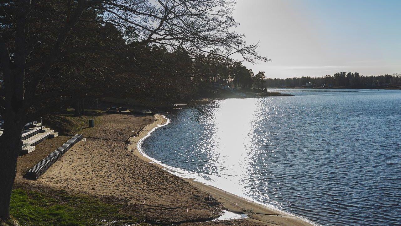 strand vid en lugn sjö
