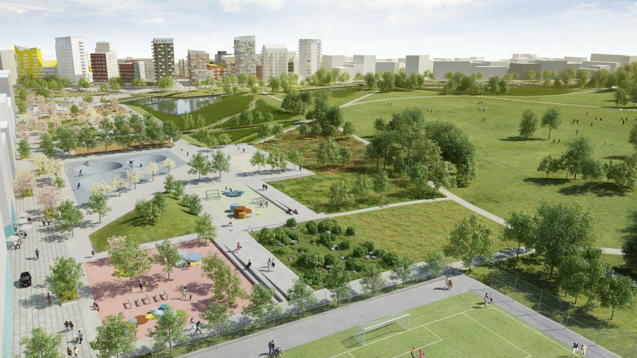 Visionsbild på Årstafältet i Stockholm som OBOS bygger