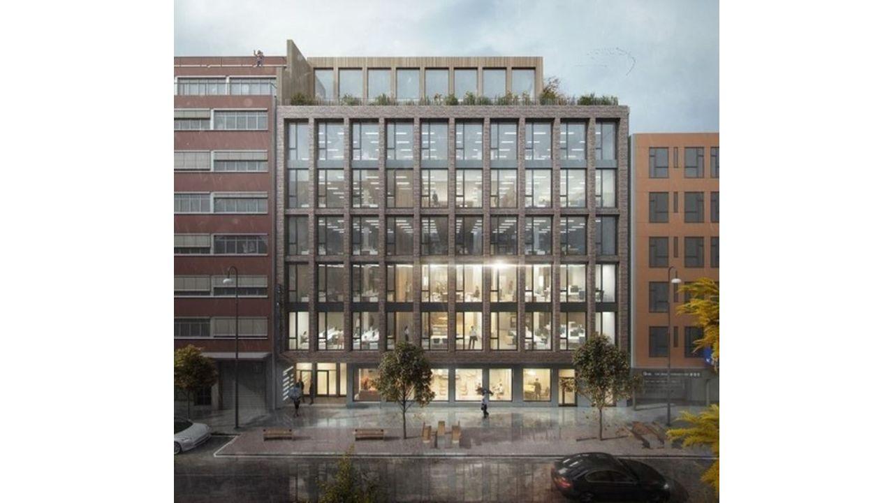 Bilde av fasaden på kontorbygget.