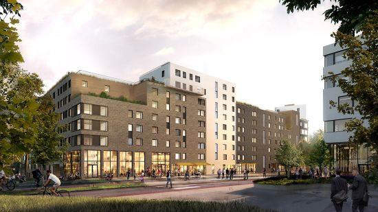 Illustrasjonen viser Ulvenparken sin fasade, sett fra Ulvenveien