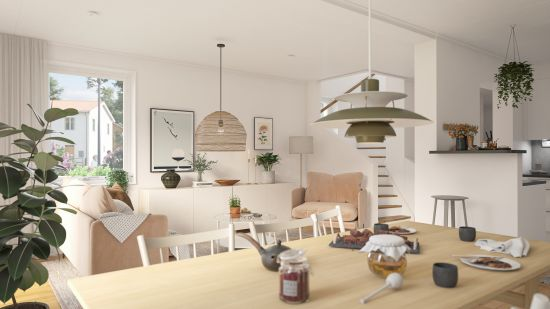 Ett trevligt vardagsrum med ett middagsbord
