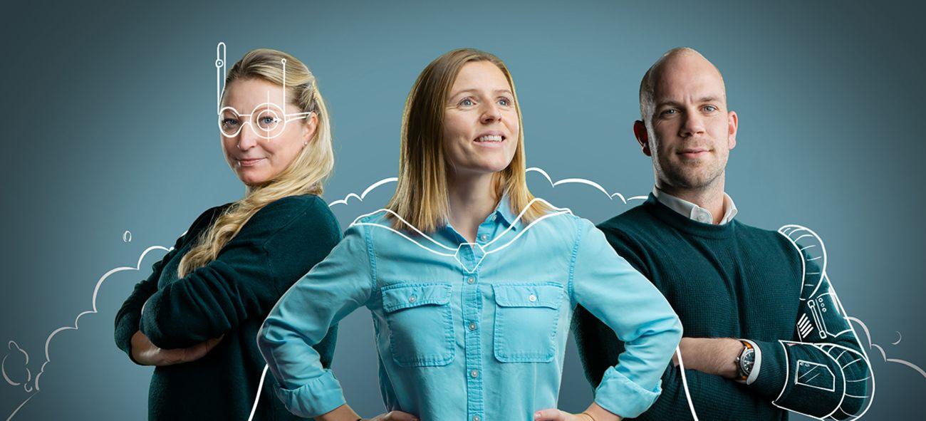 Tre ansatte i OBOS som smiler