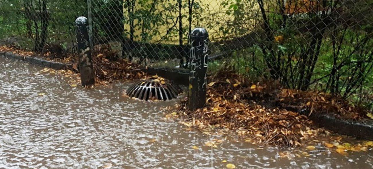 Masse vann rundt et avløp