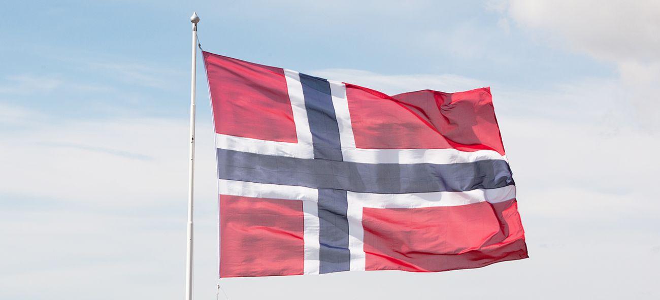 Det norske flagget som vaier i en flaggstang