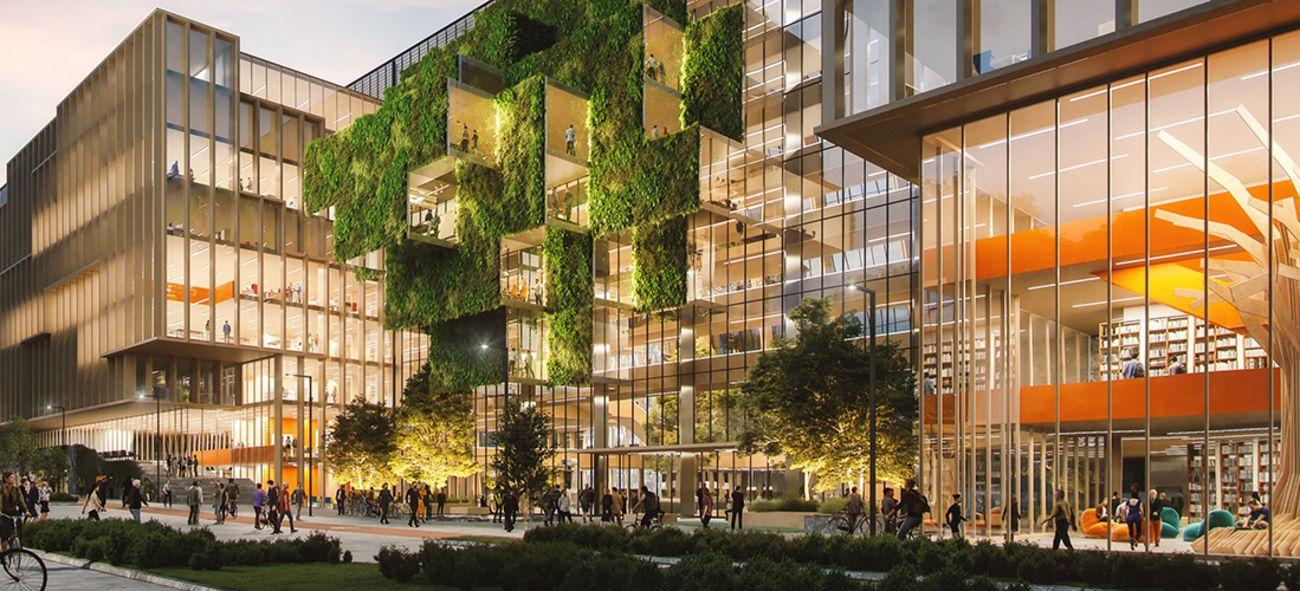 Illustrasjon av Construction City fra gateplan med mange lysende vinduer