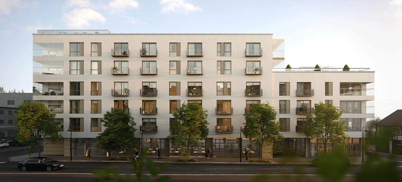 fasade på boligblokkene i 2317 Sentrumskvartalet i Hamar sentrum
