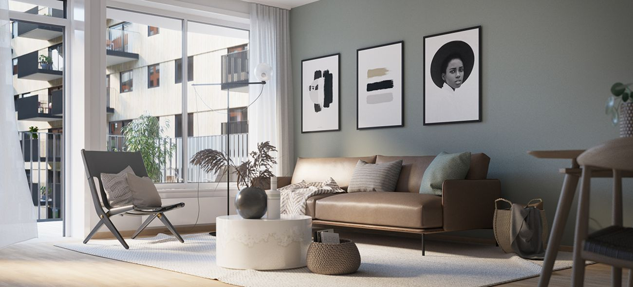 grå stue med sofahjørne og utgang til balkong