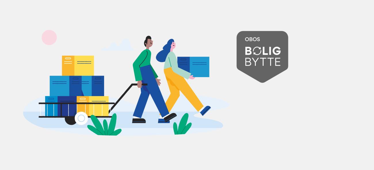 Illustrasjon av et par som flytter esker. Bildet viser også OBOS Boligbytte-logo.