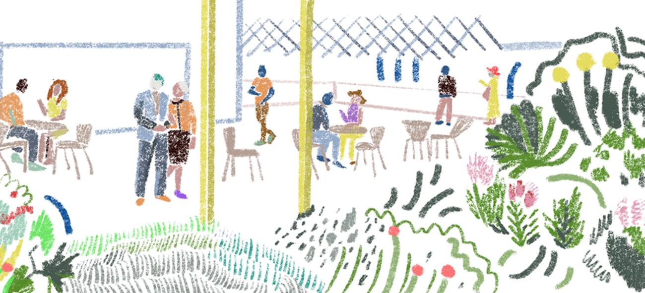 Illustrasjon av takterrassen i Bølgelengden