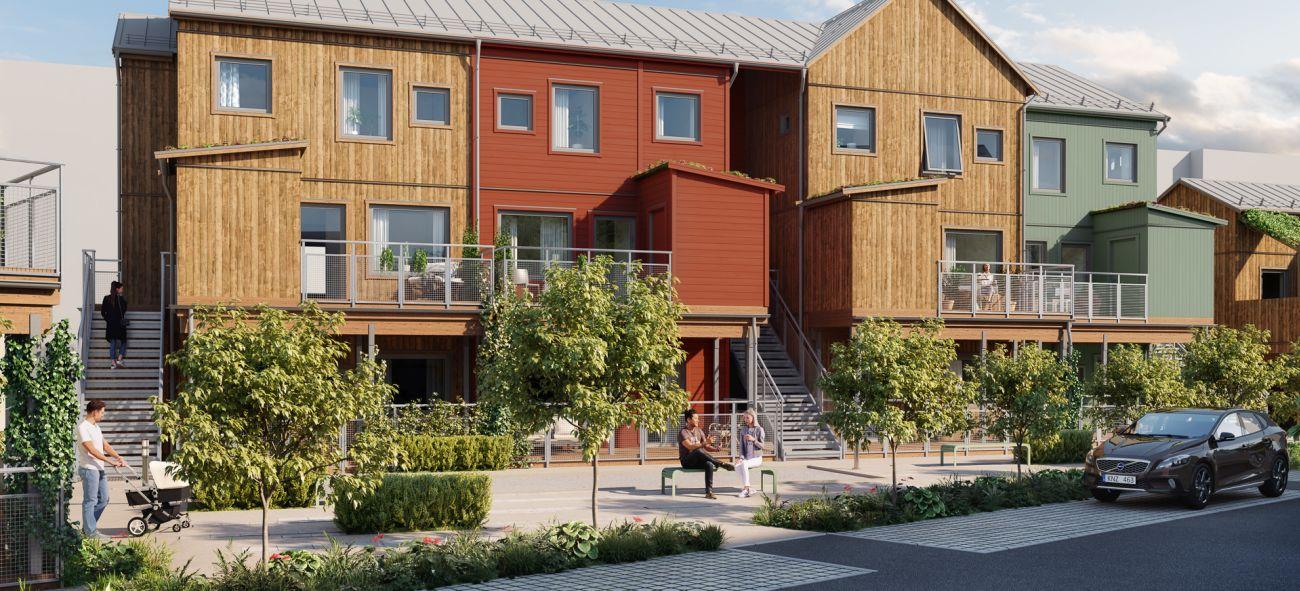 lägenhetskomplex i olika färger i lund