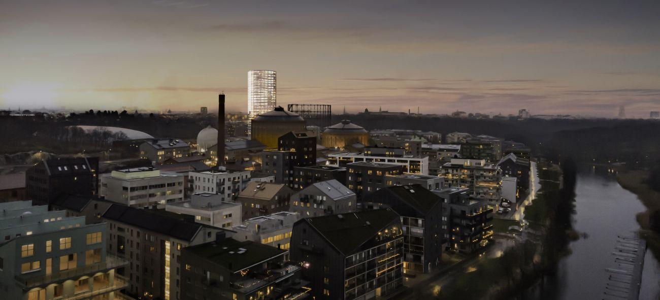 ett flygfoto över projekt gasklockan i stockholm