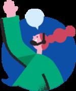 Illustrasjon av en kvinne på kundeservice som snakker i telefonen og gestikulerer