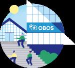 Illustrasjon av OBOS-bygget og folk som går i trappene utenfor.