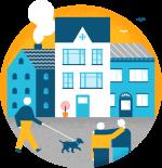 Illustrasjon av bygninger og mennesker som går foran dem