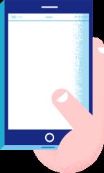 Illustrasjon av en hånd som holder en mobiltelefon