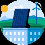 Illustrasjon av en stor bygning med solcellepanel på taket, en sol og en vindmølle i det fjerne.