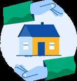 Illustrasjon med to hender rundt et hus