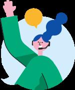 Illustration av en tjej på medlemsservice som pratar i telefon
