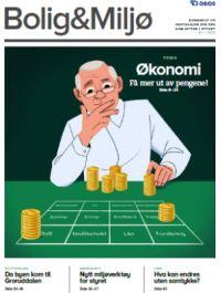 Illustrasjon av mann som fordeler penger på et spillbord, der feltene er blant annet bredbånd, vedlikehold, lån, forsikring, vaktmester.