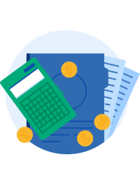 Illustrasjon av kalkulator og penger på papirark