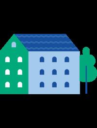 Illustrasjon av et bygg og et tre.